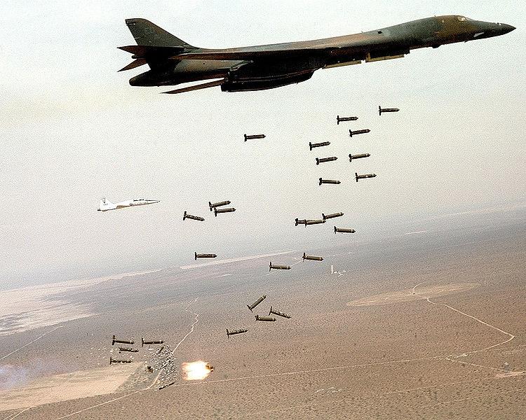 B-1B Lancer unleashes cluster munitions