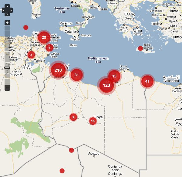 The crisis map showing the ongoing situation during the Libyan conflict