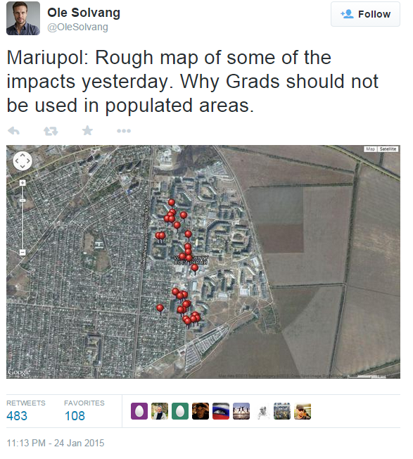 Ole Solvang of HRW, tweets a map of Grad impact sites in Mariupol, 24 Jan 2015 Copyright Human Rights Watch