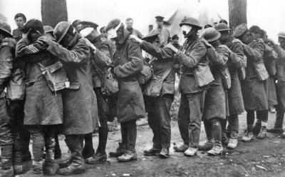 Troops blinded by gas in World War One.
