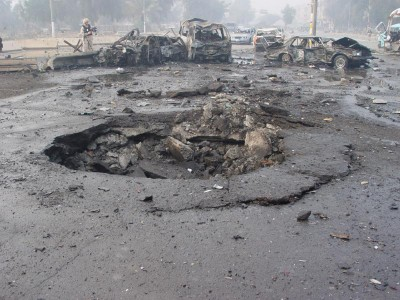 A car bombing leaves a crater in Baghdad, 2007