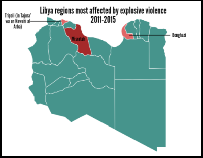 libya regions most affected by explosive violence 2011-2015 deaths and injuries